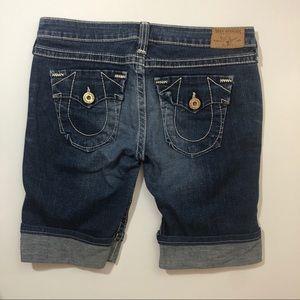 True Religion Shorts - TRUE RELIGION jean Bermuda shorts long cuffed 31